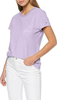 Tommy Jeans Women's TJW EASY POCKET TEE T-Shirt, Purple (Pastel Lilac 575), XL
