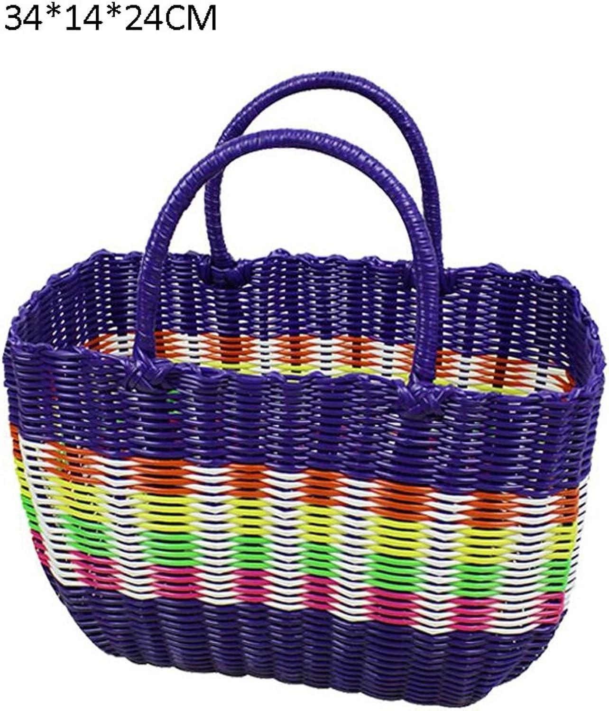 CHENGYI purple Handgefertigte Kunststoff Weben Hand Korb Bad Der Korb Warenkorb Picknick Korb AntiKorrosion (Size   34  14  24cm)