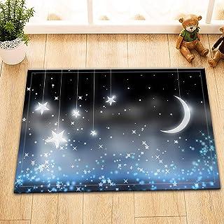 FANG2018 Sparkle Moon Stars Alfombrilla Bathoom Alfombrilla Antideslizante Alfombra de Entrada Interior Niños 40X60CM Acce...