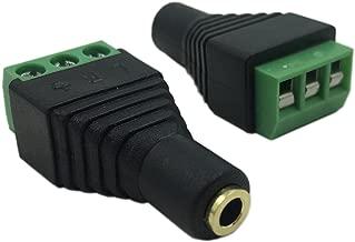 CERRXIAN 3.5mm Stereo Audio Video Female to 3 Screw Terminal Female Headphone Balum Converter Adapter (2-Pack)