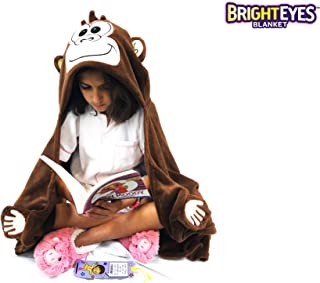 Bright Eyes Blanket - Super Soft Blanket for Kids - Hooded, Blanket, Robe - Comfy Throw Blanket, Brown Monkey; Warm Fuzzy Blanket, Stuffed Animal Blanket - Machine Washable - Perfect for Sleepovers!