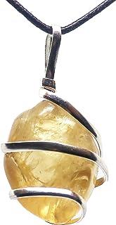 گردنبند آویز سنگهای قیمتی Citrine - Healing Crystal Natural | سنگ شادی ، ثروت و وفور | انرژی خورشیدی پلکسوس و ناف چاکراس | جواهرات مردانه و زنانه