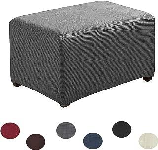 Argstar Jacquard Ottoman Cover Fleece Protector Stretch Slipcover Elastic Grey for Sofa Sets