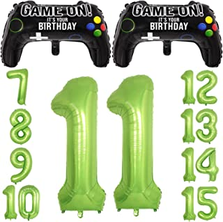 Video Game Party Balloons for Boys 11th Birthday Decorations- 2 Packs Game Controller Mylar Balloons with Green Number Bal...