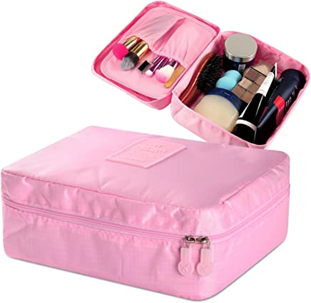 Zodaca Grooming Travel Bag Organizer Cosmetic Carry Case With Brush Holders