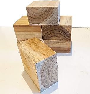 【送料無料】DIY木材 チーク系ブロック材 6ピース 角材 無垢材 積み木 ディスプレイ 展示台 ブロック インテリア 9㎝×9㎝×5㎝【ワールドデコズ】