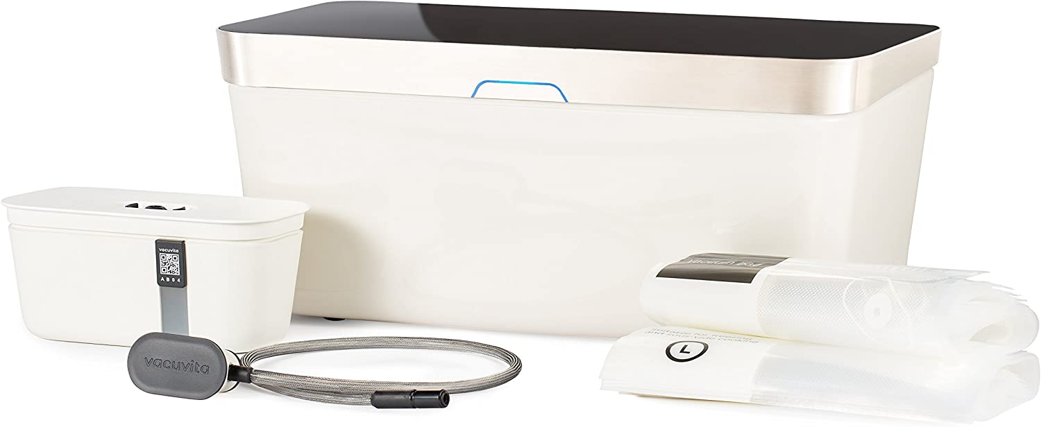 Vacuvita One Touch Vacuum Storage System, Resealable and Reusable Vacuum Sealer - White