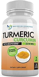 Turmeric Curcumin - 2250mg/d - 90 Veggie Caps - 95% Curcuminoids with Black Pepper Extract (Bioperine) - 750mg Capsules - 100% Organic - Most Powerful Turmeric Supplement with Triphala