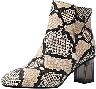 〓COOlCCI〓Ankle Boots for Women, Snakeskin Booties with Comfortable Heels, Mid-Calf Bootie Western Boot Chelsea Boot