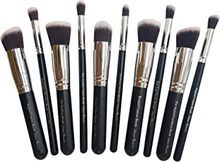 Urban Beauty 10 piece Makeup Brush Set Without Pouch (Black+Silver)