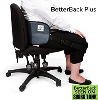 """BetterBack Plus - Ease Back Pain & Effortlessly Sit in Perfect Posture - with NASA Memory Foam Padding - Make Every Chair Ergonomic - Fits Women and Men with 37-55"""" Waist"""