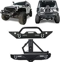 Hooke Road Different Trail Front Bumper + Rock Crawler Rear Bumper & Spare Tire Carrier Kit for 2007-2018 Jeep Wrangler JK JKU