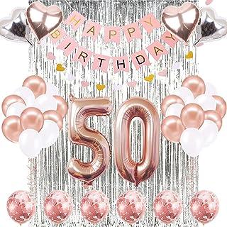 50th Birthday Decorations Banner Balloon, Happy Birthday Banner, 50th Rose Gold Number Balloons, Number 50 Birthday Balloons, 50 Years Old Birthday Decoration Supplies