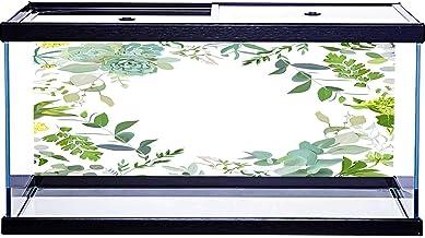 SoSung - Marco cuadrado para acuario, mezcla de hierbas, pintado a mano, varios patrones con adhesivo en la parte posterio...