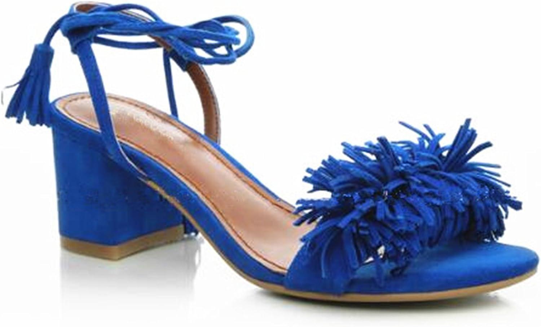 Greuses Brand shoes Woman Flock Gladiator Sandals Women Summer Lace up Sandals Thick Heels Fringe Summer Beach Women Sandals B-0065