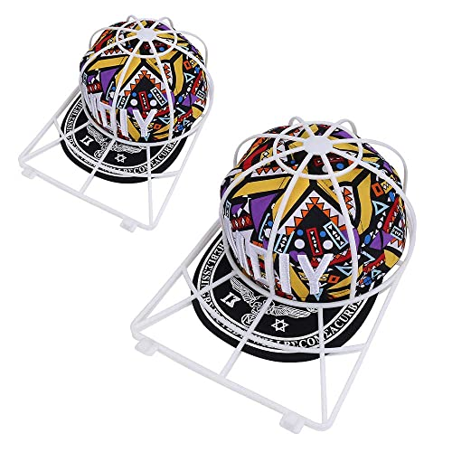 SSAWcasa Cap Washer for Washing Machine,2 Pack Hat Washer for Dishwasher,Ball Cap Cleaner for Baseball Caps Curved Bill,Plastic Hat Holder Frame Cage Basket,Hat Wash Protector Cleaning Shaper Rack