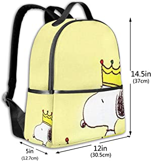 Classic School Backpack Snoopy and Friends Unisex College Schoolbag Travel Bookbag Black