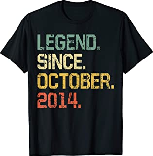5 Years Old Shirt Gift- Legend Since October 2014 T-Shirt