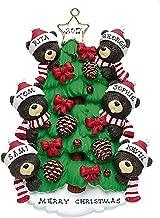 FLORIDA GLASSES Personalized Christmas Ornament Black Bears On Christmas Tree (Family of 6)