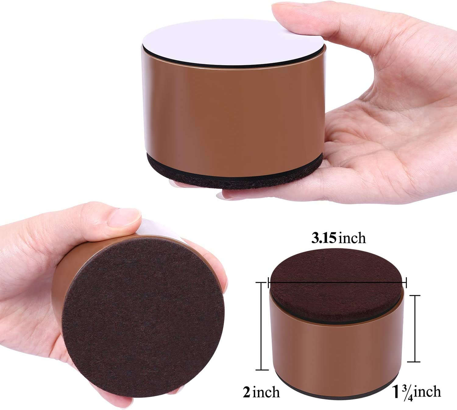 AIRUJIA 5cm Lift Furniture Risers Carbon Steel Bed Risers Diameter 8cm Self-Adhesive Heavy Duty Furniture Raisers Adds 5cm Height to Beds Sofas Cabinets Supports 20,000 lbs,Round Black
