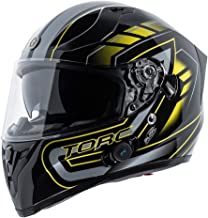 TORC Unisex-Adult Full-face Style T15B Bluetooth Integrated Motorcycle Helmet With Graphic (Gloss Black Horizon, Large)