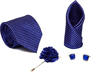 250c6c73d9d8 Axlon Men Formal/Casual Jacquard Neck Tie Pocket Square Accessory Gift Set  with Cufflinks and