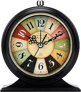LauderHome 5-Inch Vintage Retro Old Fashioned Decorative Desk Clock with Nightlight, Quartz Analog Large Numerals, Battery Operated, Loud Alarm Clock