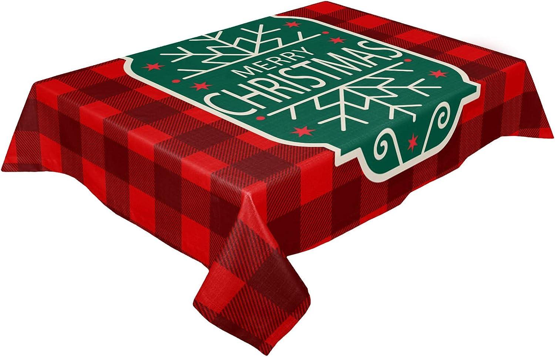 Rectangle Square Tablecloth Christmas Atlanta Mall depot Linen Snowflakes Cotton Ta
