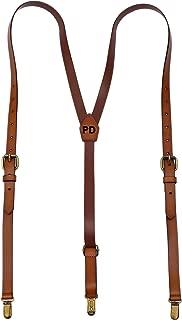 Leather Suspenders For Men Y Back Design Adjustable Brown Genuine Leather Suspenders groomsmen gifts