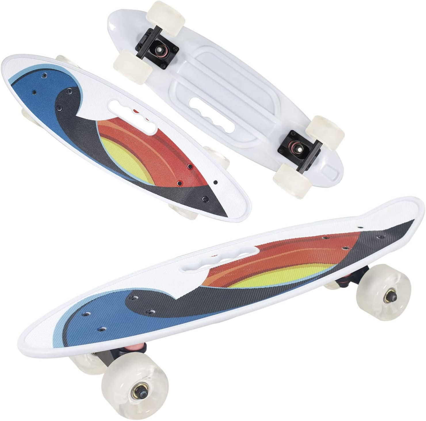 Geelife 24 Complete Mini Cruiser Skateboard for Beginners Youths Teens Girls Boys with LED Wheels