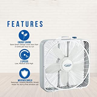 Lasko 20″ Weather-Shield Performance Box Fan - Features Innovative Wind Ring System for Up to 30% More Air, 3720