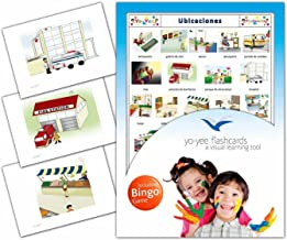 Location Flashcards in Spanish Language - Flash Cards with Matching Bingo Game for Toddlers, Kids, Children and Adults - Size 4.13 × 5.83 in - DIN A6
