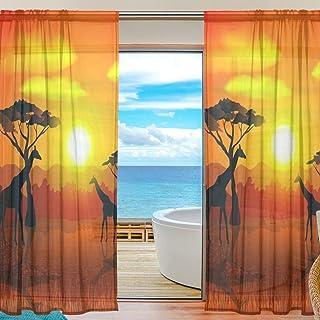 Rideaux de fenêtre en tulle - Motif coucher de soleil africain - Motif girafe - Pour la maison, la cuisine, la chambre à c...