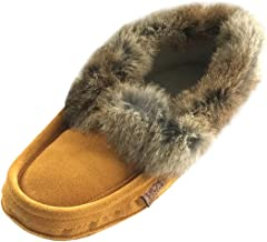 Laurentian Chief Men's Suede with Rabbit Fur Collar Soft Sole Moccasin Slippers