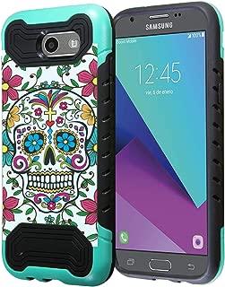 Capsule Case Compatible with Samsung Galaxy J7 Prime, J7 Perx, J7 Sky Pro, J7 V, Galaxy Halo, Galaxy J7 SM-J727 (Year 2017) [Quantum Dual Layer Slim Case Mint Black] - (Sugar Skull Blue)