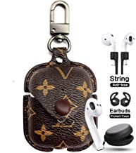 JANSAE Designer Leather Case for Airpods with Keychain, Luxury Classic Protect Case Kits Accessories Compatible with Airpod Charging Case Cover 1st / 2nd (Brown Flower)