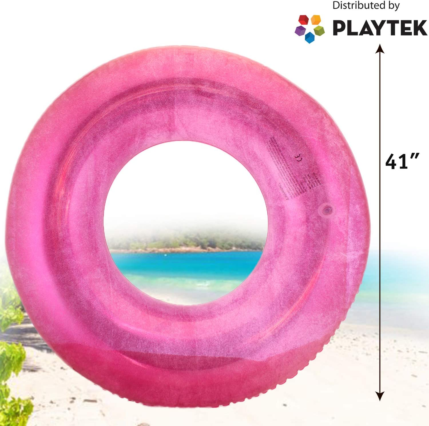 Large Round Blue Glitter Swim Tube Durable Floats for Swimming on Beach Playtek Giant Pool Float Ring Pool Water Sports