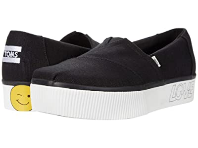 TOMS Platform Boardwalk Classics (Black Heritage Canvas) Women