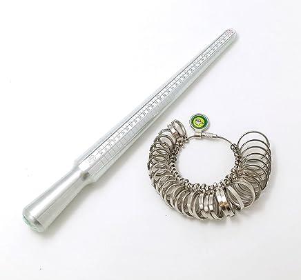 指輪 サイズ 測定 ! 世界 4 規格 対応 リング サイズ 棒 & リング 日本 規格 サイズ ゲージ スケール メジャー 計測 セット 125