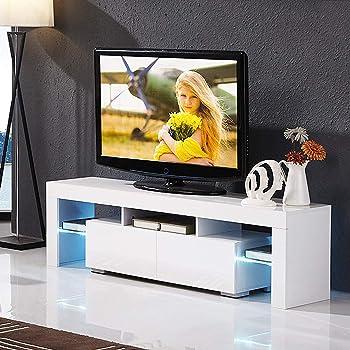 Hidden Tv Meubel.Amazon Com Mecor Modern White Tv Stand With Led Lights High