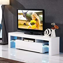 mecor Modern White TV Stand with LED Lights, High Gloss TV Stand for 65 Inch TV LED TV Stand with Storage and 2 Drawers Living Room Furniture