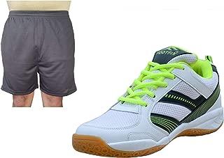 FOOTFIX Spectrum White (Non Marking) PU Badminton Shoe White with Black Short for Men Footwear Combo