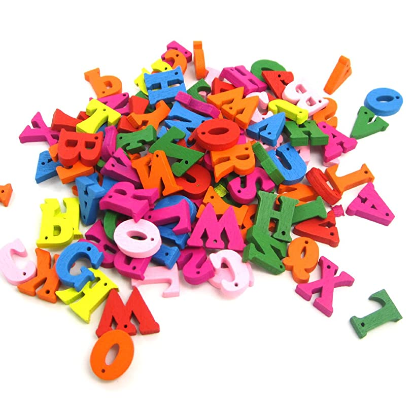 WINGONEER 100pcs Pieces Painting Wood Letters Buttons Supplies Mixed Big Letters 1 Hole