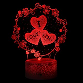 FRCOLOR 3D I Love You Heart Night Light 7 Changing Illusion Lamp with Touch and for Valentine Day Home Bedroom Decor
