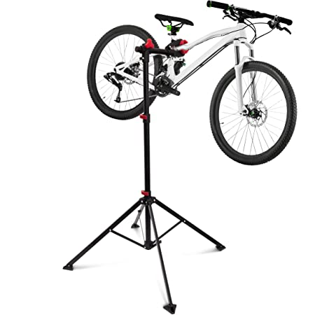 Relaxdays Pied de réparation vélo hauteur réglable pivotant entretien bicyclette atelier réglable Noir 105 -190 cm