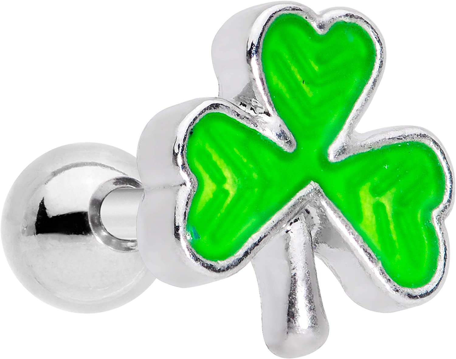 Body Candy 16G Unisex 6mm Stainless Steel Green Inlay Shamrock Cartilage Earring Tragus Jewelry 1/4