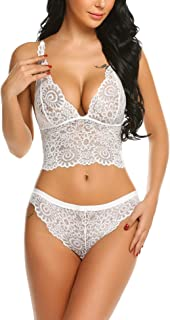 Lingerie Set for Women Lace Bra and Panty 2 Piece Babydoll Underwear Sets