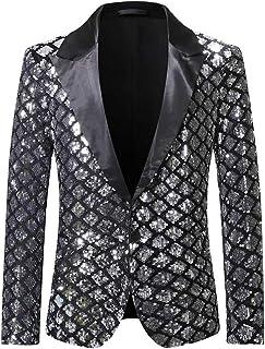 Allthemen Mens Tuxedo Suit Blazer Plaid Sequins One Button Wedding Blazer Suit Jacket