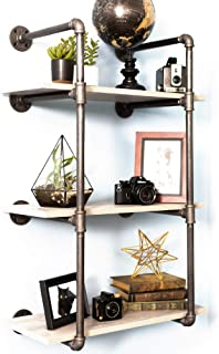 Pipe Decor 3 Tier Industrial Shelves, Vintage Iron DIY Shelving Unit, Rustic Wall Mounted Hanging Bookshelf, Garage or Kitchen Storage, Heavy Duty Floating Black Metal Rack Sturdy 35 inch, No Wood