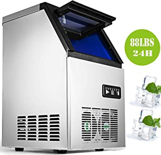 Happybuy Commercial Ice Maker 88lbs per Day with 29lbs Storage Capacity 3x8 Ice Cubes Plate Commercial Ice Machine 110V Portable Automatic Ice Machine for Restaurant Bar Cafe